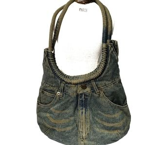 Vintage Denim Shoulder Bag Colour Distressed